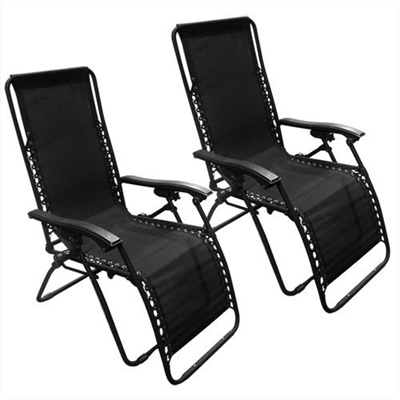 Zero Gravity Chairs Case Of (2) Black Lounge Patio Chairs Outdoor Yard Beach
