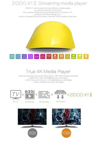 Qoo10 - ZIDOO X1 II Ture 4K RK3229 1GB/8GB Bluetooth 4 0 Android 4 4