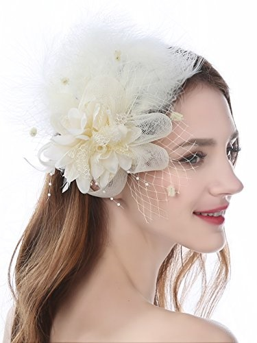 48d049238d5 Zivyes Kentucky Derby Fascinators Hat for Women Tea Party Headband Wedding  Hair Clip Mesh Flower Fea