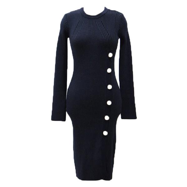 2016年冬新作オシャレな韓流スリット入りタイトスカート毛糸編みレディースワンピース大きいサイズ小さいサイズ