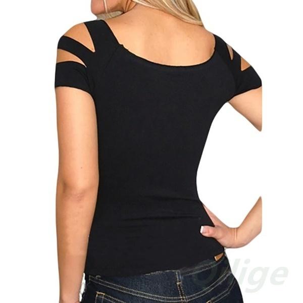 セクシーなファッション半袖カットカットしたトップTシャツ女性のClubwear