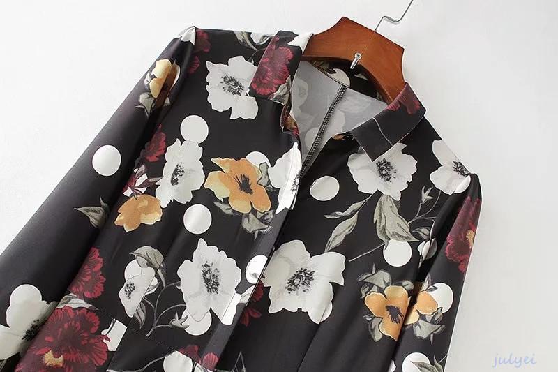 欧米風 花柄ワンピース プリント柄  シャツワンピ 大人っぽく着こなヴィンテージの花柄 レディース  ロングワンピース  ゆったり 体型カバー