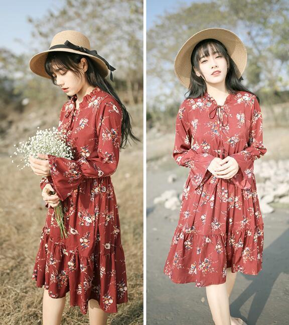 [55555SHOP]韓国ファッション★女性ファッション★高級なパターンワンピース★デートファッション