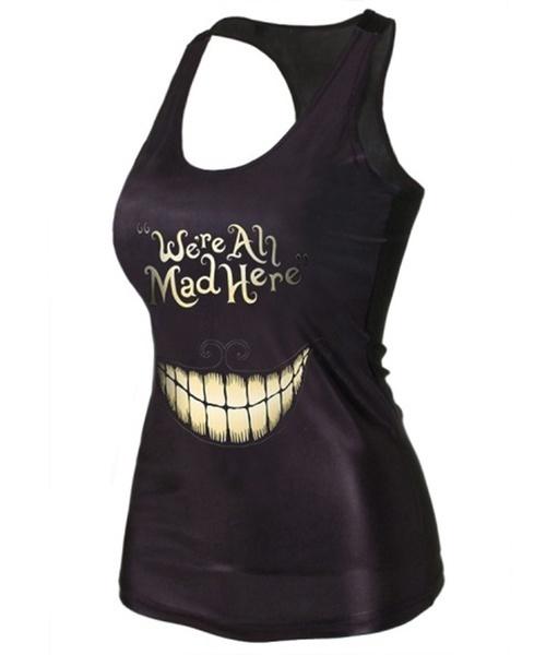 """ファッション女性の夏 """"私たちはすべてここに狂った""""スマイルプリントベストノースリーブカジュアルタンクトップTシャツ"""