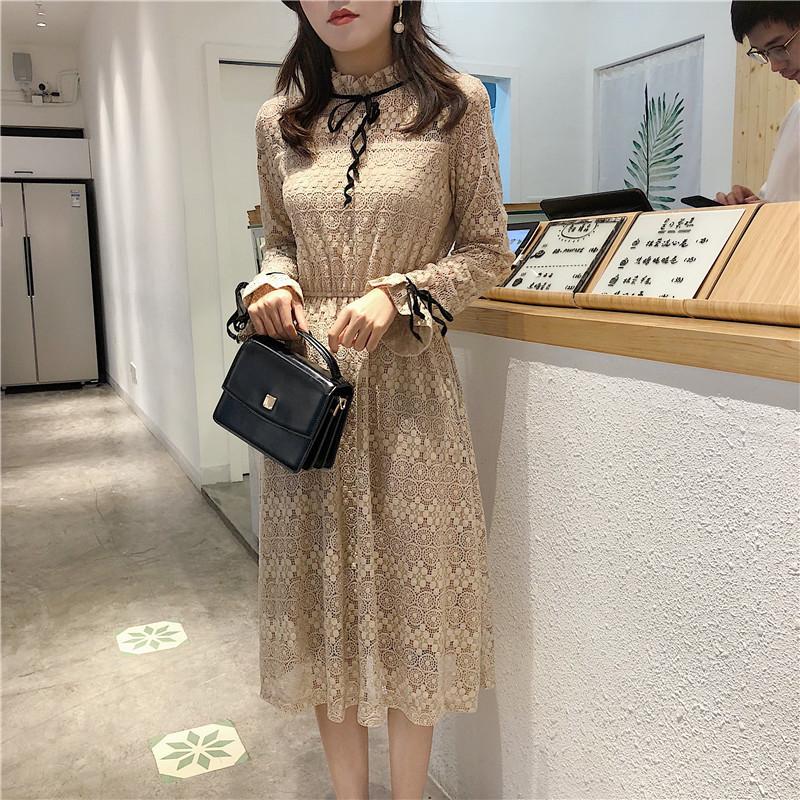 [55555SHOP]韓国ファッション レディース ワンピース 大きいサイズ  長袖 レースパーティー ドレス  ブラック ワンピース
