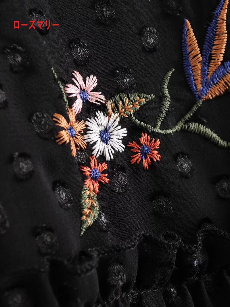 【ローズマリー】欧米風2018早春ファッション新型半袖のワンピース刺繍シフォンスカート ワンピース スイート 花柄 ヴィンテージ調 大人気 刺繍レース-QQ5902