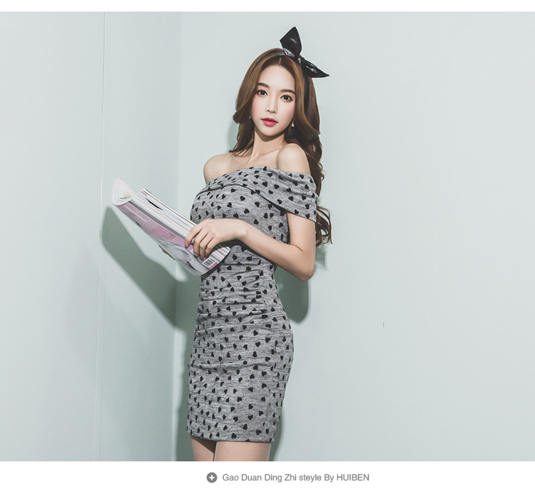 人気韓国セクシータイトワンピース オフショルダーワンピース キャバワンピース ハット柄 タイト ミニ