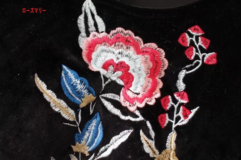 【ローズマリー】欧米2017秋冬新型丸首ラッパ袖刺繍裾フリルスカートのベルトビロードのワンピース スイート ヴィンテージ調 クルーネック  ベーシック -QQ4934