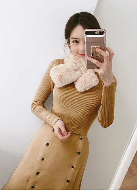 [55555SHOP]韓国ファッション タートルネックロング丈 ニットワンピース ベルト付き