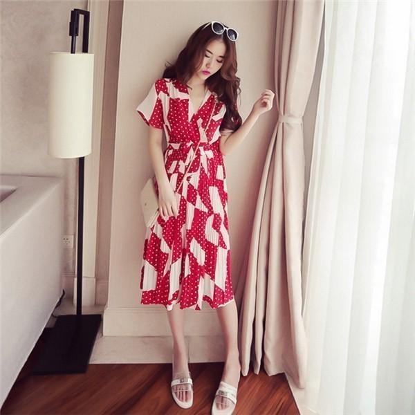 レディースワンピース 韓国無地 スリム 韓国のファッション シフォンハイウエストワンピース   V領 プリントワンピース 上品 ロングスカート ハイセンス 着心地いい おしゃれ 夏 スリム セール★