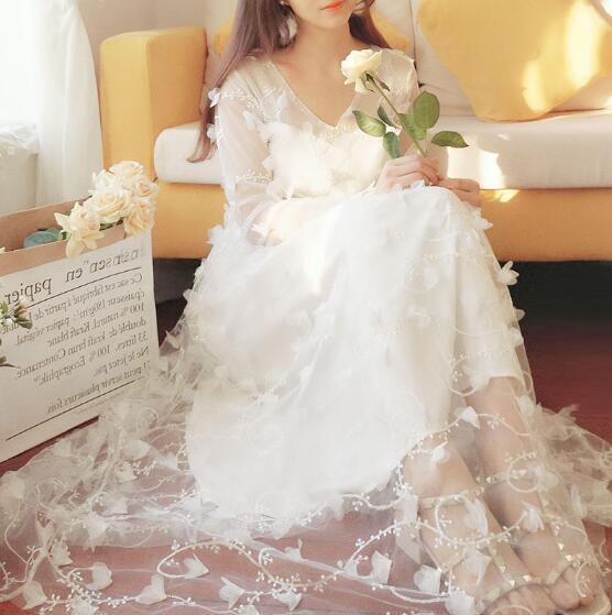 [55555SHOP]韓国ファッション レディース ワンピース 大きいサイズ 夏 長袖 レースパーティー ドレス