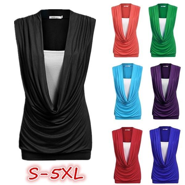 プラスサイズの女性ファッションセクシーな深いVネックノースリーブピュアカラースリムフィットコットン偽の2つの部分Casu