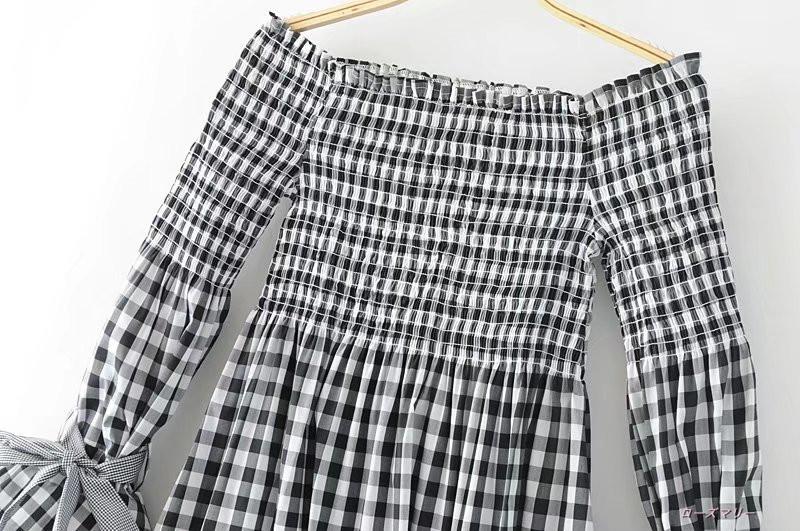 欧米2017夏新型女装ファッション百搭一字領ベアトップワンピースストラップ袖格子 チェック柄 スリットスリーブ かわいい-QQ1317