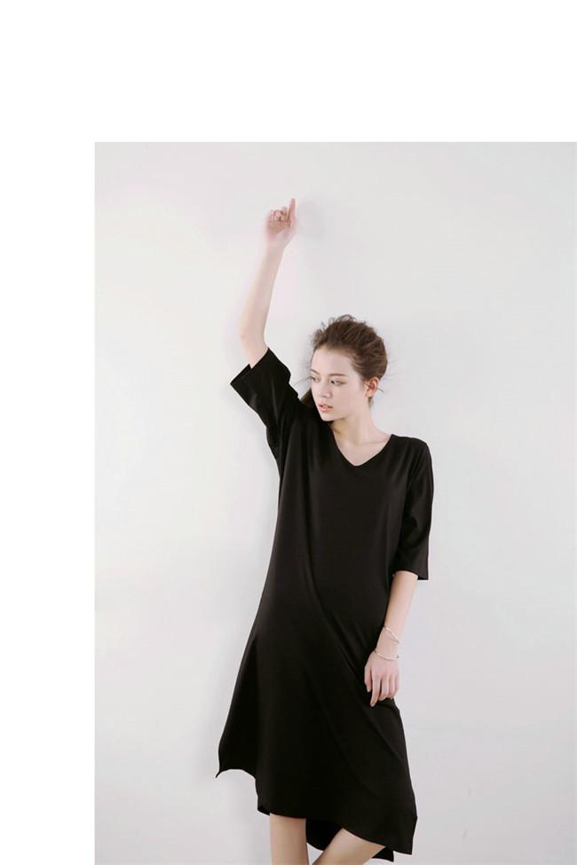 女性 Tシャツワンピース 綿 無地 韓国ファッション Vネック Tシャツ 大人の女性の必須 サイドスリット シンプル ドルマンスリーブ 短袖  レディース スリム・ライン 着痩せ 夏ファッション ワンピース 大きめ ミニシャツブラウス 可愛いティーシャツ