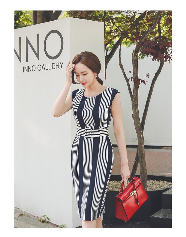 [55555SHOP]レディース ストライプ  ワンピース 刺繍 新作 ミドル着痩せ パーティー OL ドレス