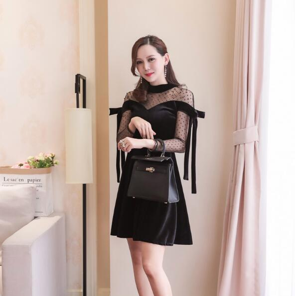 [55555SHOP]韓国ファッション秋冬 レースシースルーフレアワンピース★ パーティードレス パーティー ド