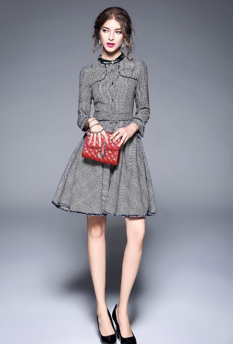 長袖 ワンピース おしゃれ 着回し抜群 着痩せ 人気 新品 シンプル 通勤着 韓国ファッション 大きいサイズ