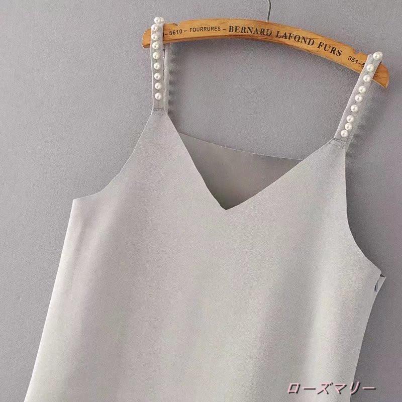 【ローズマリー】欧米風の復古ストレートの絨のビーズのキャミワンピース無地百搭女装秋下地スカート キャミワンピース  ベーシック かわいい-QQ2497