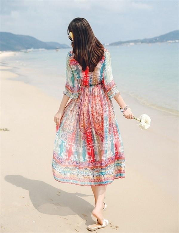 レディースワンピース ビーチワンピース 砂浜 ボヘミア風 ファッション ハイセンス 着心地いい おしゃれ 夏 スリム レディースワンピース