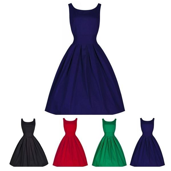 女性1950年代夏ヴィンテージスリムカクテルパーティースイングミディアムドレス