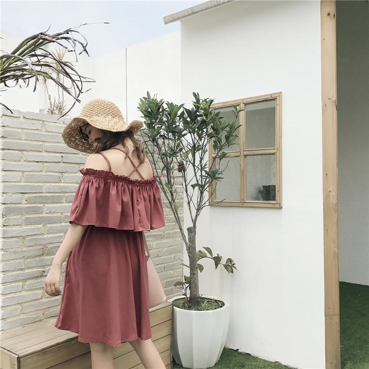 オフショルワンピ 2通り楽しめる フリフリ スイート ドレス 3色 フレアスカート 体型カバー きれいめ オシャレ 膝丈(80-125)※納期に10日から14日ほどかかります。