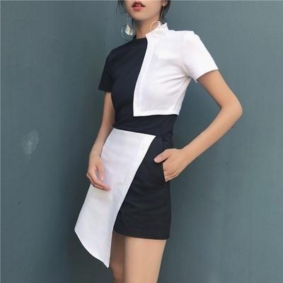 韓国 ファッション セット ヒットカラー スプライシング 丸襟 半袖Tシャツ 不規則な