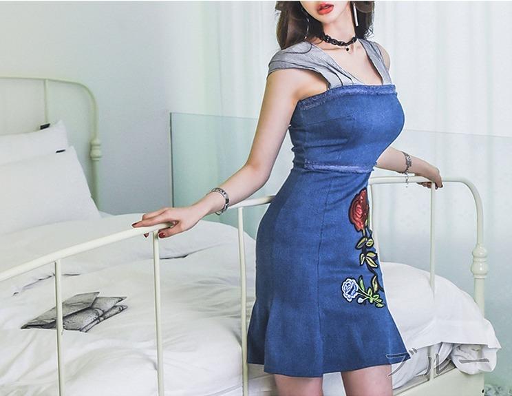 デニムワンピ 刺繍 切替 フレア ブルー