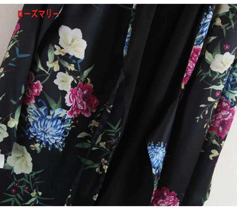 【ローズマリー】スーツのジャケット式の花のワンピースは巻いて短いスカート 長袖ワンピース スイート 花柄 ヴィンテージ調 かわいい -QQ5817