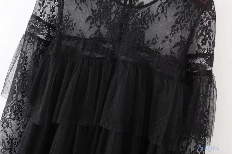 欧米風 2017秋新品 レースチュールワンピース フリル 透け感 ブラック 着やせ セクシー ゆったり カジュアル  レディース