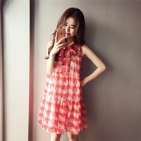 レディースワンピース 韓国無地 スリム 韓国のファッション シフォンノースリーブワンピース   プリントワンピース 上品 ロングスカート ハイセンス 着心地いい おしゃれ 夏 スリム セール★ レディ