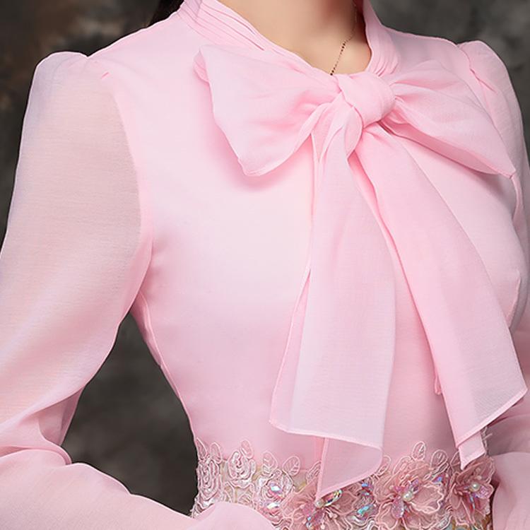 ワンピース リボン花柄 ドッキング 美人