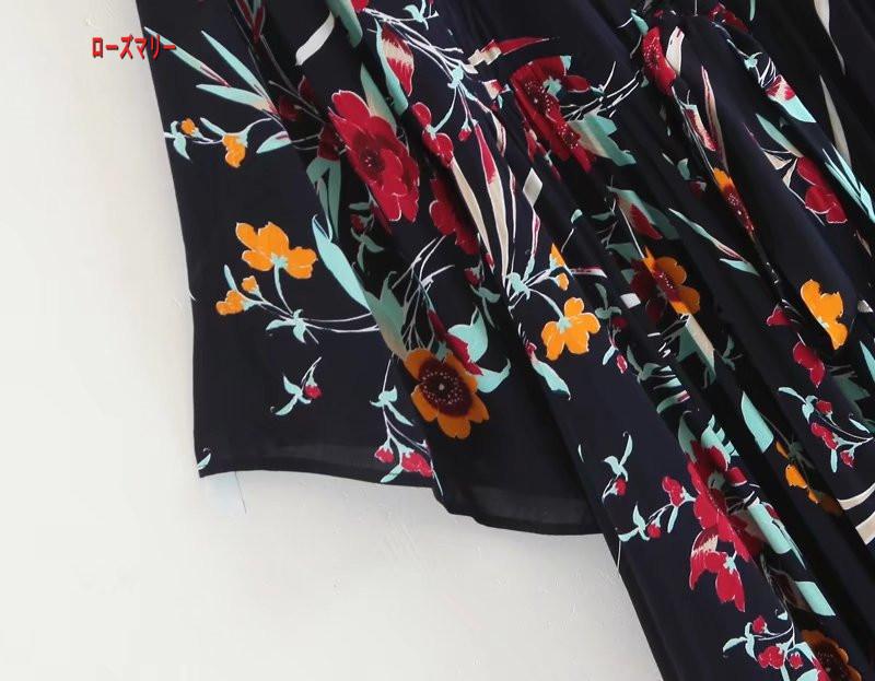 【ローズマリー】花柄のストラップ双襟のVネックワンピース女2018春腰大ラッパ袖プリントスカート ロングワンピース 花柄 ヴィンテージ調   ベーシック 大人気-R550