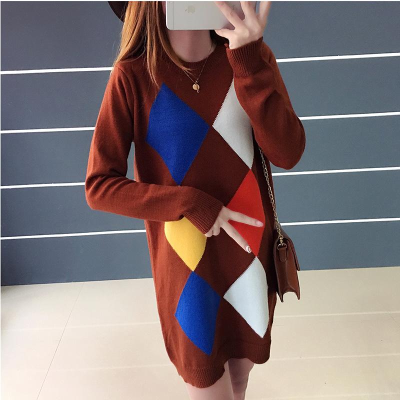 レディース服 ニットウェア ワンピース セーター お洒落 配色 ミドル ポケット 丸首 花柄 韓国ファッション 女性
