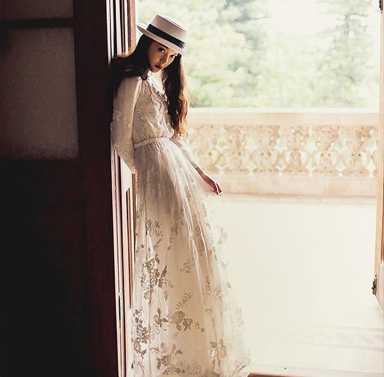 [55555SHOP]長袖ワンピース 刺繍 チュール スリム レース フラワー 花 ファッション sweet系