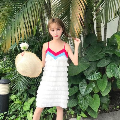 スリング/ワンピース /女/夏/新しいデザイン/韓国風/気質/若いもの/着やせ/T-ストラップ/ロング/ケーキのスカート