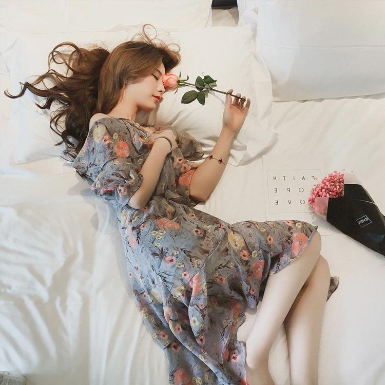肩みせミワンピースフリル花柄夏シフォンレディース