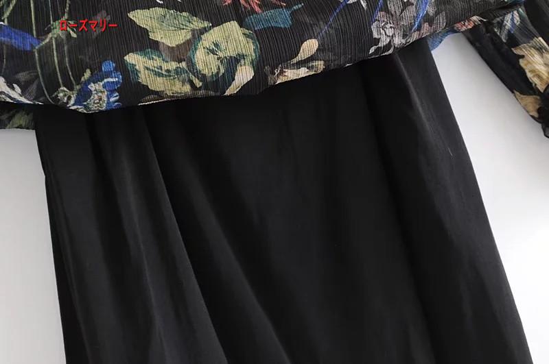 【ローズマリー】欧米風2018春ファッション百搭新型詰め襟長袖のプリントのワンピース プリント 長袖ワンピース ヴィンテージ調  ベーシック 大人気-R274