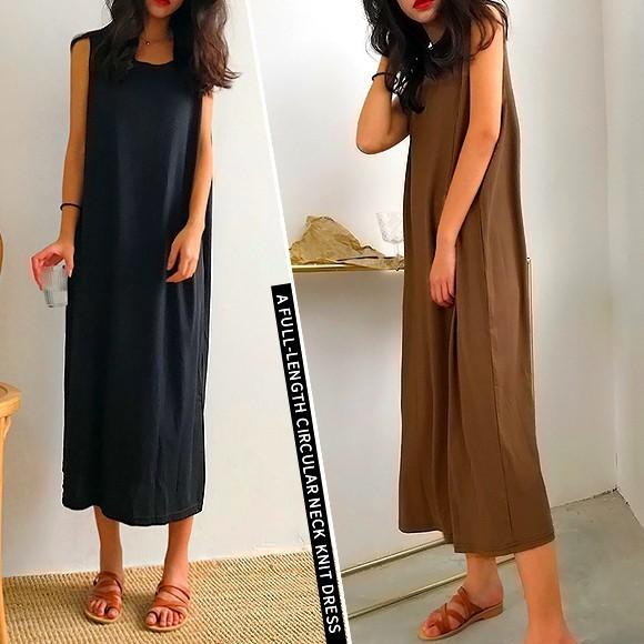 ワンピース ノースリーブ レディース リラックス ドレス ブラック ブラウン 女っぽ レディライク セクシー ゆる 韓国 ファッション