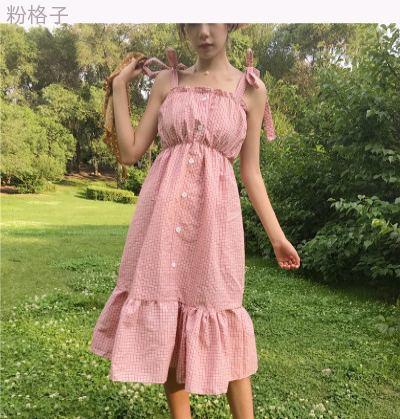 夏服 女性服 韓国風 背中開き 伸縮性 ハイウエスト ドレス 中長デザイン T-ストラッ