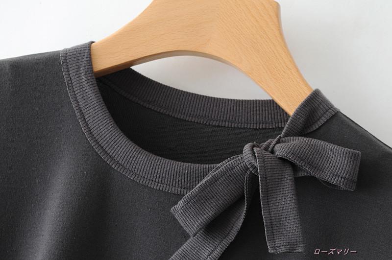 【ローズマリー】クルーネック 非対称裾切り替えワンピース秋女装七分袖ゆったり着やせ遊びの短いスカート ワンピース ヴィンテージ調  ベーシック 大人気-QQ3611