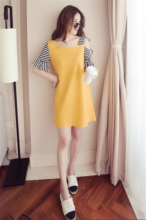 レディースワンピース 韓国無地 スリム 韓国のファッション 上品  学院?  ベアトップワンピース ストライプ  ハイセンス 着心地いい おしゃれ 夏 スリム セール★ レディースワンピース