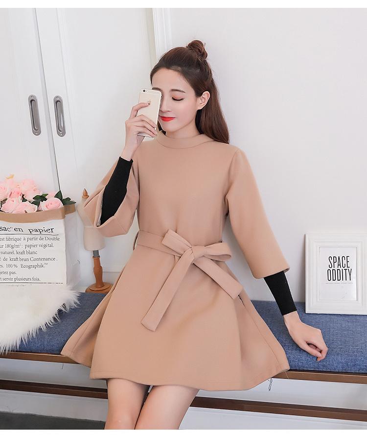 秋冬ワンピース 韓国ファッション ラウンドネックワンピース ルーズフィット カジュアル 暖かい秋と冬服新しいトレンド ウエストベルト付きのは可愛い 生地しっかりして すっきりデザイン 女性らしい