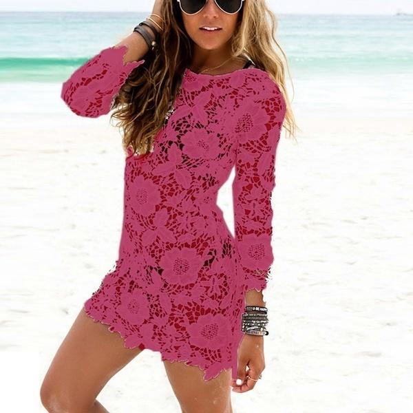 女性のレースのかぎ針編みのタッセルビキニのビーチドレス水着カバー