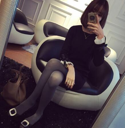 [55555SHOP]女装大きいサイズ セーター ゆとり韓国ファッションワンピース 厚くロングセクション