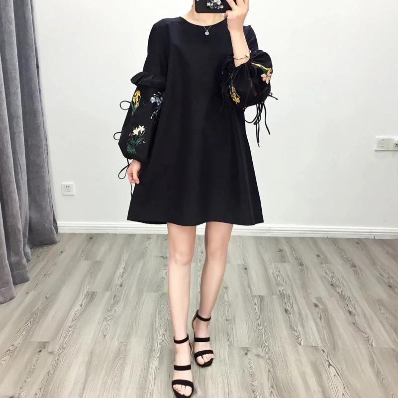 花刺繍長袖帯パフスリーブのワンピース着やせスカート 刺繍ワンピース 着痩せの効果出る 専門販売コーナー 袖にボリューム 大人気 フィットスタイル ヴィンテージ調 高品質-QQ208