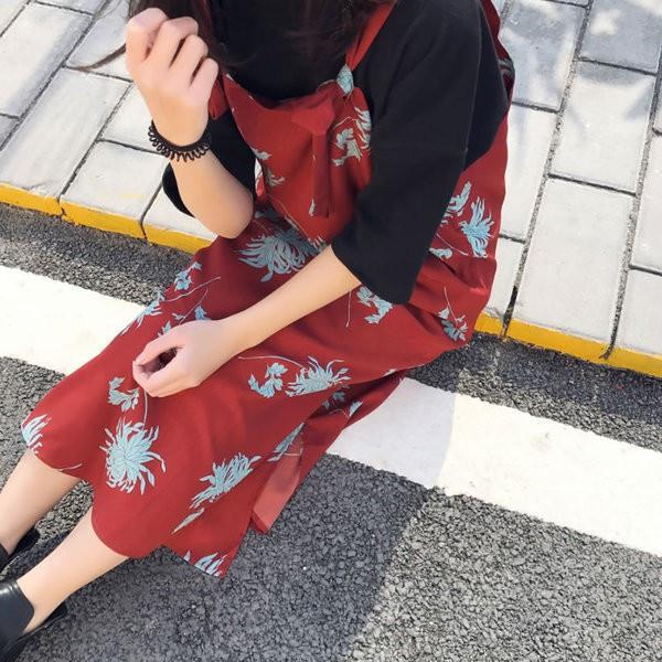 【送料無料】レディース ワンピース 花柄 赤 ひざ丈 ドレス 2017 新作