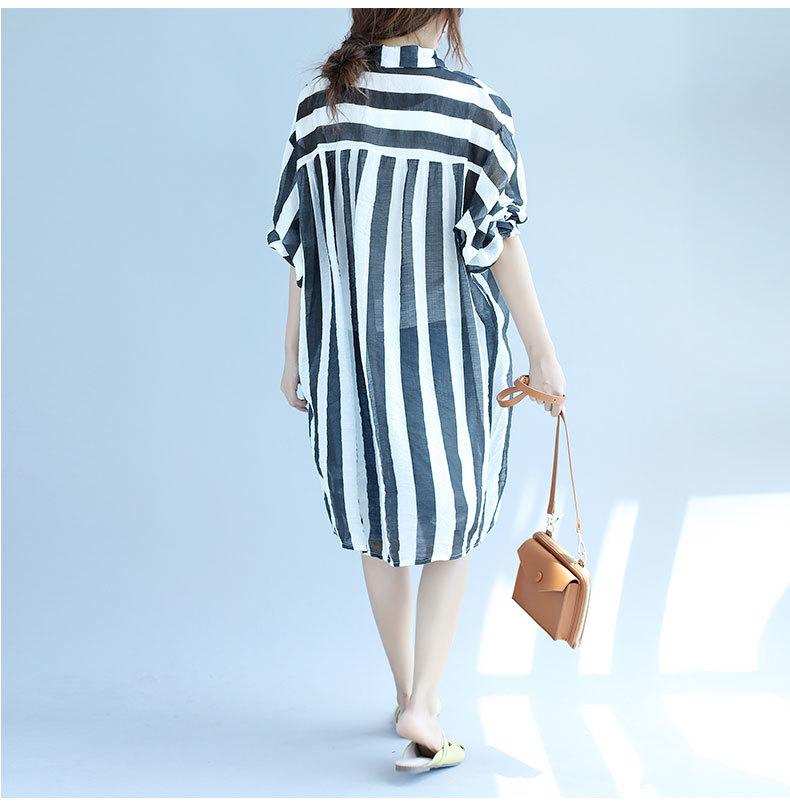 大きいサイズ ストライプシャツ 長袖 ゆったりチュニック ロング丈 薄手 綿麻混 カジュアル風
