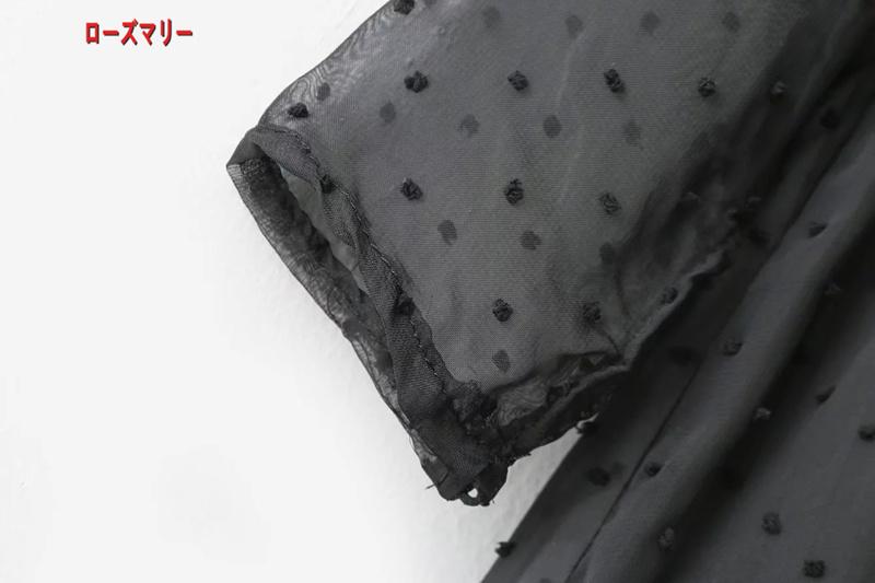 【ローズマリー】秋の新型欧米風花刺繍チュール透視ワンピース スイート 花柄 長袖ワンピース 刺繍レース かわいい-QQ5139