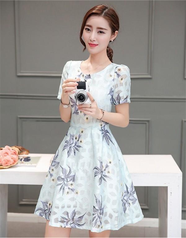 レディースワンピース 韓国無地 スリム 韓国のファッション  ロングスカート 丸首  半袖ワンピース  ハイウエストワンピース  プリントワンピース  ハイセンス 着心地いい おしゃれ 夏 スリム セ