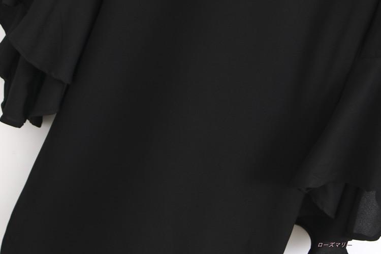 2017秋新型欧米風ファッション百搭ラッパ袖ワンピース丸首着やせ下地スカート女性のスカート ワンピース 着痩せの効果出る ベーシック 大人気 かわいい-QQ1359